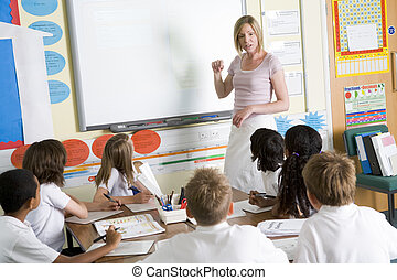 enseignement, classe école, junior, prof