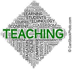 enseignement, concept, étiquette, nuage