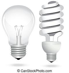 ensemble, économie, électricité, lumière, énergie, lampe, ampoule