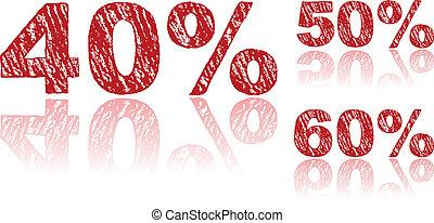 ensemble, écrit, pourcentages, -, vente, craie, 3, 2, rouges