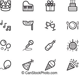 ensemble, élément, vecteur, arrière-plan noir, fête, blanc, icône