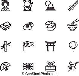 ensemble, élément, vecteur, arrière-plan noir, japon, blanc, icône