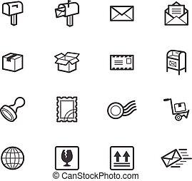 ensemble, élément, vecteur, arrière-plan noir, poste, blanc, icône