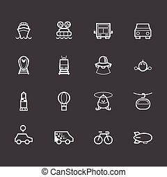 ensemble, élément, vecteur, arrière-plan noir, véhicule, blanc, icône