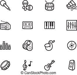 ensemble, élément, vecteur, musique, fond, noir, blanc, icône