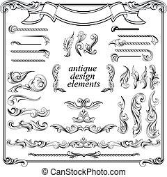 ensemble, éléments, calligraphic, décoration, conception, page