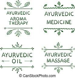 ensemble, éléments, huile, ayurvedic, lignes, massage., letters., vecteur, vert, médecine, dessiné, arometherapy, main, typographyc