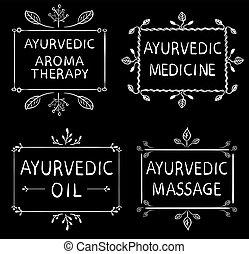 ensemble, éléments, huile, tableau noir, ayurvedic, lignes, massage., letters., craie, vecteur, médecine, dessiné, arometherapy, main, typographyc