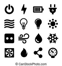 ensemble, électrique, icônes