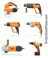 ensemble, électrique, icônes, illustration, vecteur, outils