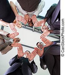 ensemble, équipe, mains, business