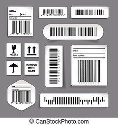 ensemble, étiquette, vecteur, barcode, autocollants