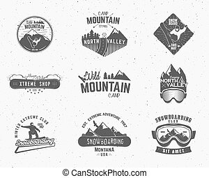 ensemble, étiquettes, snowboard, extérieur, conception, escalade, logo, désert, montagne, camping, vendange, voyage, hipster, forêt, dessiné, insignia., badge., explorateur, symbole, main, aventure, icône, camp, vecteur