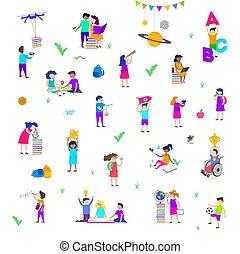 ensemble, étudier, gens, dos, actif, explore., sympathie, enfants, différent, groupe, rêvasser, -, isolé, characters., lecture, activités, caractères, children., école, illustration., sport, vecteur, peinture