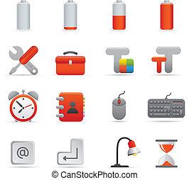ensemble, 01, icônes, série, informatique,  , rouges