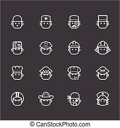 ensemble, 1, vecteur, arrière-plan noir, blanc, icône, occupation
