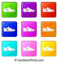 ensemble, 9, chaussure football, icônes