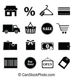 ensemble, achats, apparenté, icône