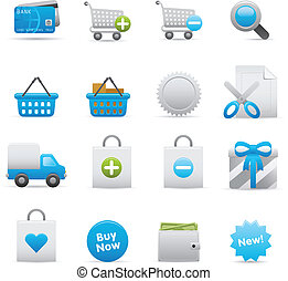ensemble, achats, icônes, 01, indigo,  