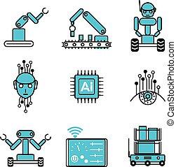 ensemble, ai, système, illustration, robot, vecteur, conception, automatisé, icône