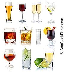 ensemble, alcool, isolé, blanc, lunettes, boissons