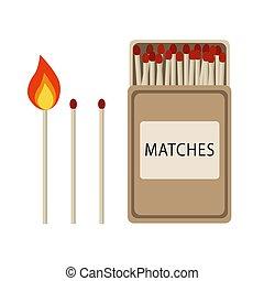 ensemble, allumette, vendange, bâtons, matches., conception, set., brûlé, match., boîte