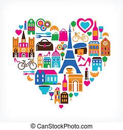 ensemble, amour, icônes, -, illustration, vecteur, pairs