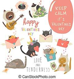 ensemble, amour, thème, vecteur, caractères, chats, dessin animé