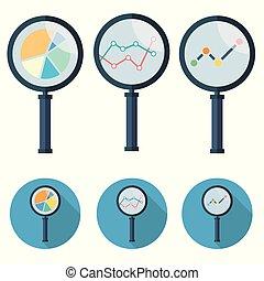 ensemble, analytic, icônes, -, symbole., verre, vecteur, magnifier