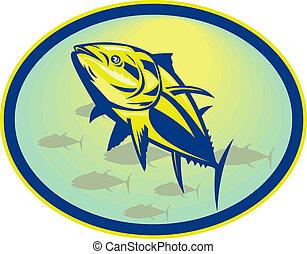 ensemble, angle, intérieur, bluefin, bas, thon, affiché, oval.