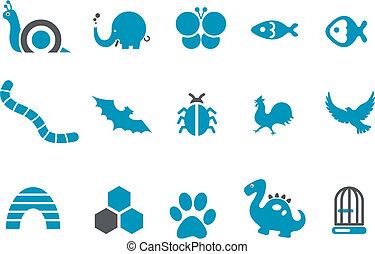 ensemble, animaux, icône