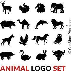 ensemble, animaux, icônes, noir, sauvage, logo