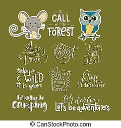 ensemble, animaux, voyage, deux, icons., citations, aventure, vecteur, dehors