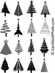 ensemble, arbre, noël, icônes