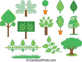 ensemble, arbres, végétation