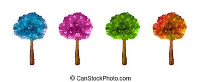 ensemble, arbres, white., quatre, seasons.watercolor, isolé