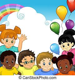 ensemble, arc-en-ciel, enfants