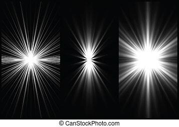 ensemble, arrière-plan., vecteur, éclairage, noir, blanc