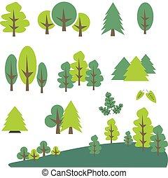 ensemble, art, agrafe, arbre, pin, vecteur