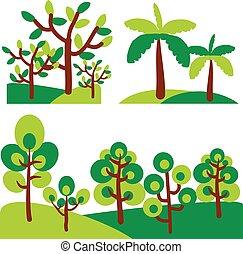 ensemble, art, agrafe, arbres., résumé, arbre, vecteur