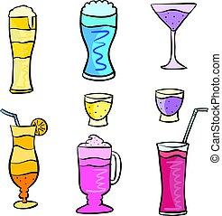 ensemble, art, boisson, vecteur, divers, doodles