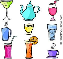 ensemble, art, griffonnage, boisson, vecteur, divers