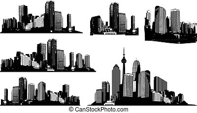 ensemble, art, panorama, vecteur, noir, blanc, cities.