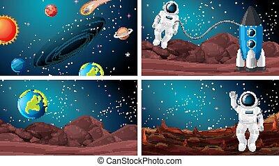 ensemble, astronaute, espace