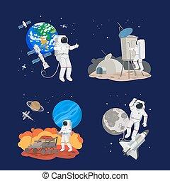 ensemble, astronautes, espace