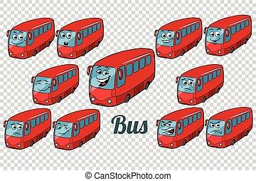 ensemble, autobus, collection, neutre, fond, autobus