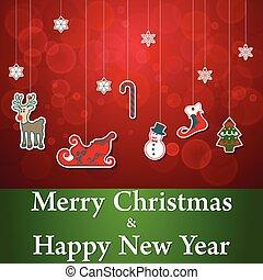 ensemble, autocollant, vecteur, joyeux, année, nouveau, noël, heureux
