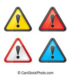 ensemble, avertissement, danger, attention, signe