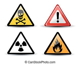 ensemble, avertissement, triangulaire, danger, signes