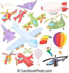 ensemble, aviation, style, dessin animé, icône